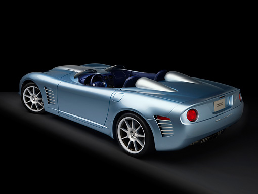 VET 01 RK0812 01 © Kimball Stock 2007 Chevrolet Corvette Callaway C16 Speedster Light Blue 3/4 Rear Overhead View Studio