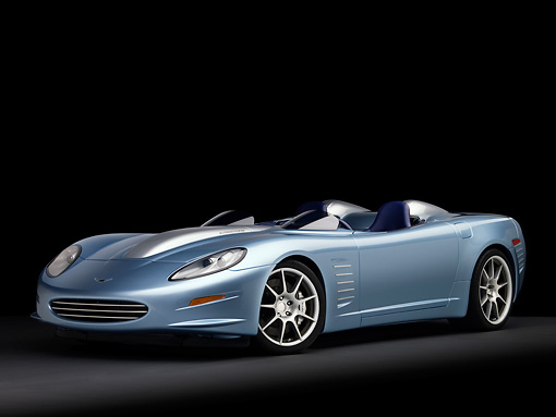 VET 01 RK0814 01 © Kimball Stock 2007 Chevrolet Corvette Callaway C16 Speedster Light Blue 3/4 Front View Studio