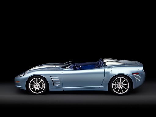 VET 01 RK0815 01 © Kimball Stock 2007 Chevrolet Corvette Callaway C16 Speedster Light Blue Profile View Studio