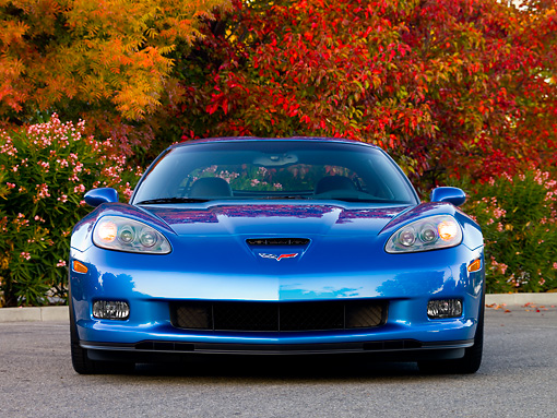 VET 01 RK0830 01 © Kimball Stock 2008 Chevrolet Corvette Z06 Coupe Blue Head On View On Pavement By Autumn Trees