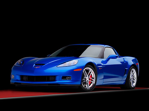 VET 01 RK0843 01 © Kimball Stock 2008 Chevrolet Corvette Z06 Coupe Blue 3/4 Front View Studio
