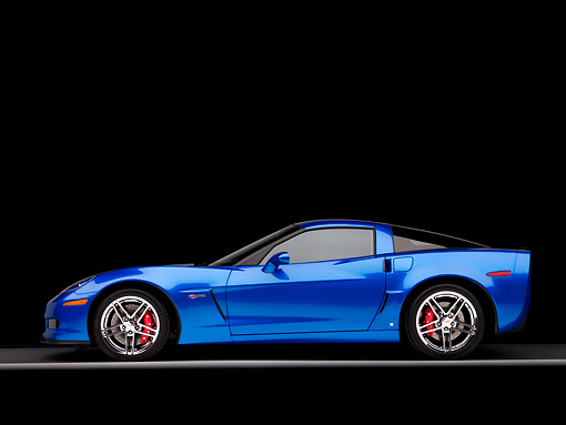 VET 01 RK0844 01 © Kimball Stock 2008 Chevrolet Corvette Z06 Coupe Blue Profile View Studio