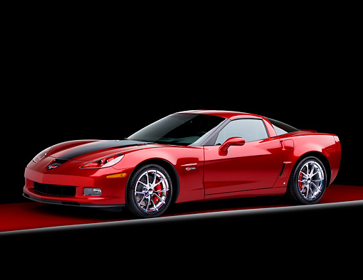 VET 01 RK0850 01 © Kimball Stock 2008 Chevrolet Corvette 427 Limited Edition Z06 Coupe Red 3/4 Front View Studio