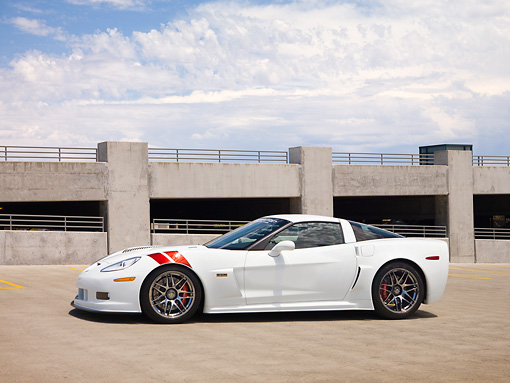 VET 01 RK0875 01 © Kimball Stock Spring Mountain's 2008 Pratt & Miller Chevrolet Corvette C6RS Coupe White 3/4 Front View