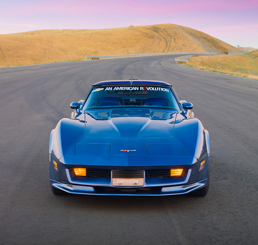 VET 01 RK0881 01 © Kimball Stock 1981 Chevrolet Corvette FSO Coupe Blue Head On View By Hills