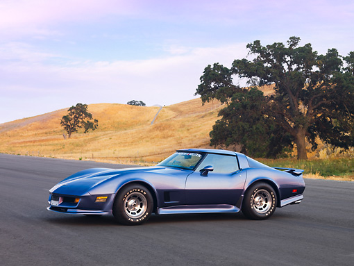 VET 01 RK0895 01 © Kimball Stock 1981 Chevrolet Corvette FSO Coupe Blue 3/4 Front View By Hills