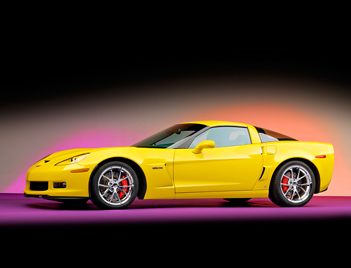 VET 01 RK0908 01 © Kimball Stock 2009 Chevrolet Corvette Z06 Yellow 3/4 Front View Studio