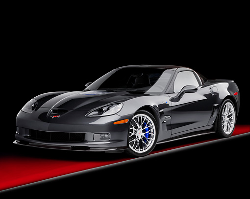VET 01 RK0910 01 © Kimball Stock 2009 Chevrolet Corvette ZR1 Black 3/4 Front View Studio