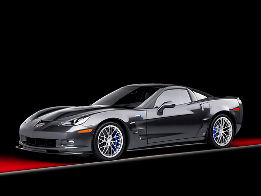 VET 01 RK0912 01 © Kimball Stock 2009 Chevrolet Corvette ZR1 Black 3/4 Front View Studio