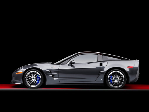 VET 01 RK0914 01 © Kimball Stock 2009 Chevrolet Corvette ZR1 Black Profile View Studio