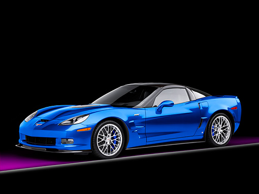 VET 01 RK0916 01 © Kimball Stock 2009 Chevrolet Corvette ZR1 Blue 3/4 Front View Studio
