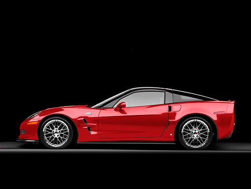 VET 01 RK0918 01 © Kimball Stock 2009 Chevrolet Corvette ZR1 Red Profile View Studio