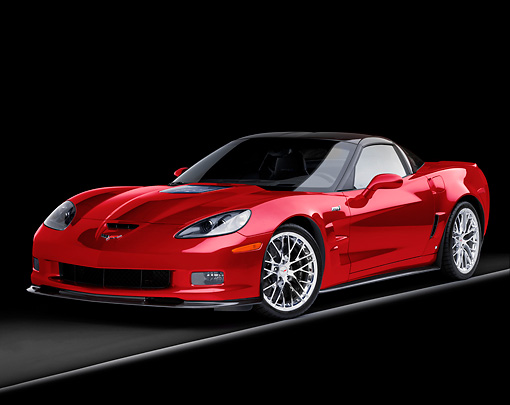 VET 01 RK0919 01 © Kimball Stock 2009 Chevrolet Corvette ZR1 Red 3/4 Front View Studio