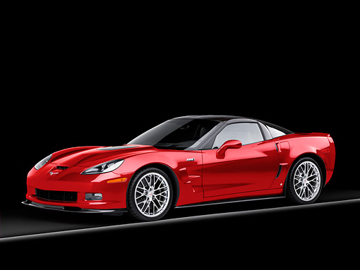 VET 01 RK0920 01 © Kimball Stock 2009 Chevrolet Corvette ZR1 Red 3/4 Front View Studio