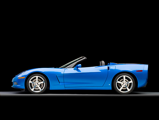 VET 01 RK0922 01 © Kimball Stock 2009 Chevrolet Corvette Convertible Blue Profile View Studio