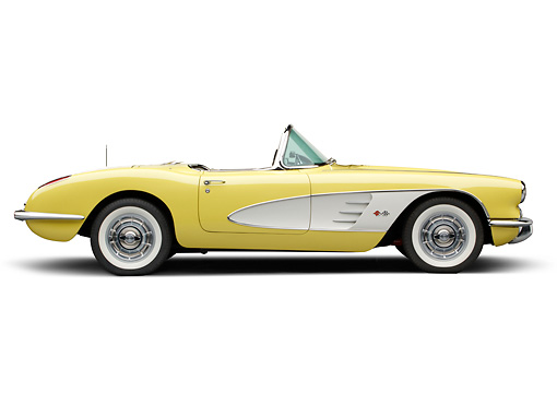 VET 02 BK0001 01 © Kimball Stock 1958 Chevrolet Corvette Roadster Panama Yellow And White Profile View On White Seamless