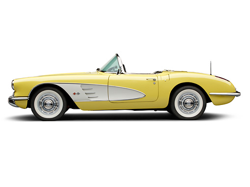 VET 02 BK0002 01 © Kimball Stock 1958 Chevrolet Corvette Roadster Panama Yellow And White Profile View On White Seamless