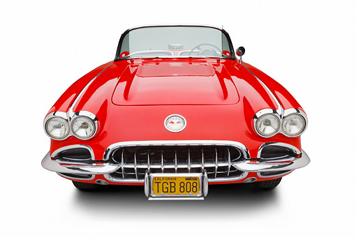 VET 02 BK0028 01 © Kimball Stock 1959 Chevrolet Corvette Roadster Red And White Front View On White Seamless