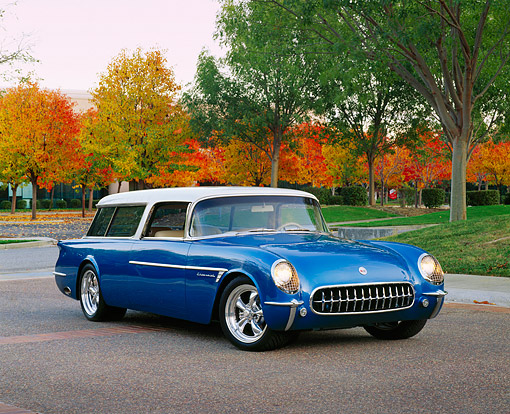 VET 02 RK0274 04 © Kimball Stock 1954 Corvette Nomad Wagon Blue And White