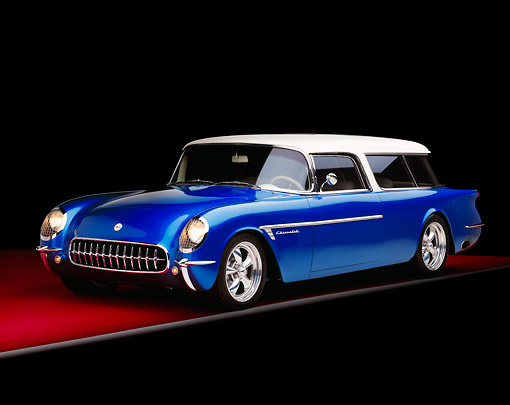VET 02 RK0283 01 © Kimball Stock 1954 Chevrolet Corvette Nomad Station Wagon Blue And White 3/4 Front View Studio