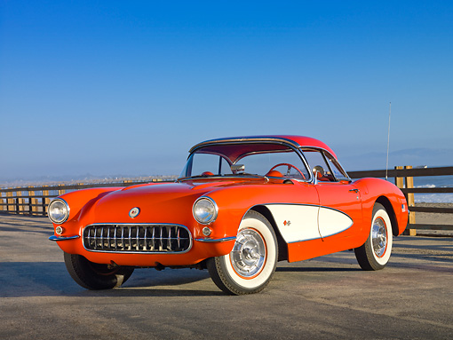 VET 02 RK0357 01 © Kimball Stock 1956 Chevrolet Corvette Red And White 3/4 Front View On Pavement By Ocean