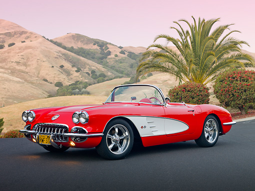 VET 02 RK0365 01 © Kimball Stock 1959 Chevrolet Corvette Red And White 3/4 Front View On Pavement By Hills