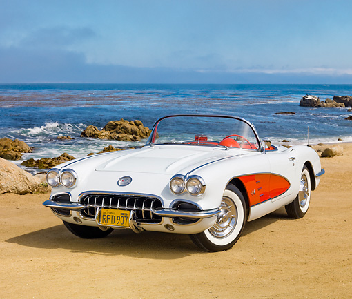 VET 02 RK0370 01 © Kimball Stock 1958 Chevrolet Corvette White With Red Coves 3/4 Front View On Sand By Ocean