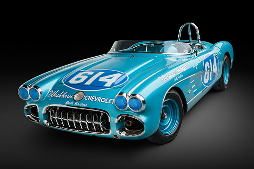 VET 02 RK0387 01 © Kimball Stock 1959 Chevrolet Corvette Race Car Blue 3/4 Front View In Studio