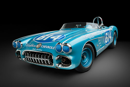 VET 02 RK0388 01 © Kimball Stock 1959 Chevrolet Corvette Race Car Blue 3/4 Front View In Studio