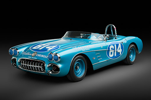 VET 02 RK0389 01 © Kimball Stock 1959 Chevrolet Corvette Race Car Blue 3/4 Front View In Studio