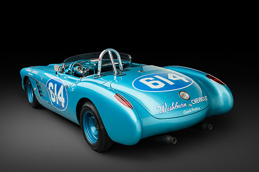 VET 02 RK0390 01 © Kimball Stock 1959 Chevrolet Corvette Race Car Blue 3/4 Rear View In Studio