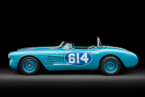 VET 02 RK0391 01 © Kimball Stock 1959 Chevrolet Corvette Race Car Blue Profile View In Studio
