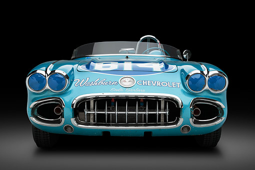 VET 02 RK0392 01 © Kimball Stock 1959 Chevrolet Corvette Race Car Blue Front View In Studio
