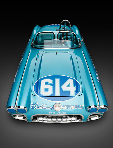 VET 02 RK0393 01 © Kimball Stock 1959 Chevrolet Corvette Race Car Blue Front Overhead View In Studio