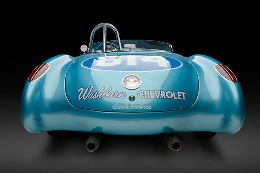 VET 02 RK0394 01 © Kimball Stock 1959 Chevrolet Corvette Race Car Blue Rear View In Studio