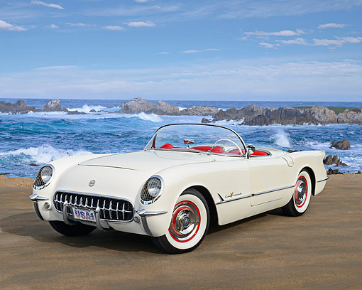 VET 02 RK0396 01 © Kimball Stock 1955 Chevrolet Corvette Polo White 3/4 Front View On Pavement By Ocean