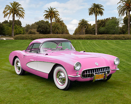 VET 02 RK0403 01 © Kimball Stock 1956 Chevrolet Corvette 265 V-8 Pink 3/4 Front View On Lawn By Palm Trees