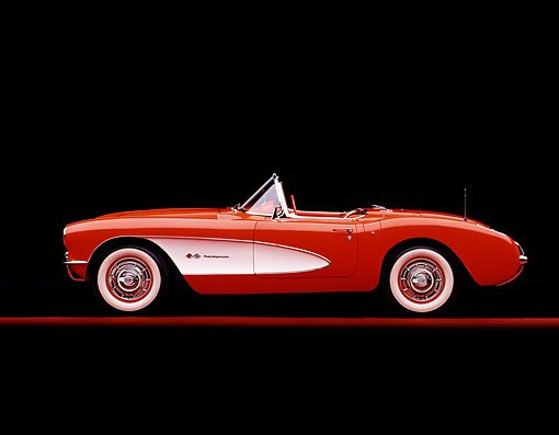 VET 02 RK0003 06 © Kimball Stock 1957 Chevrolet Corvette Convertible Red And White Profile On Red Line Studio