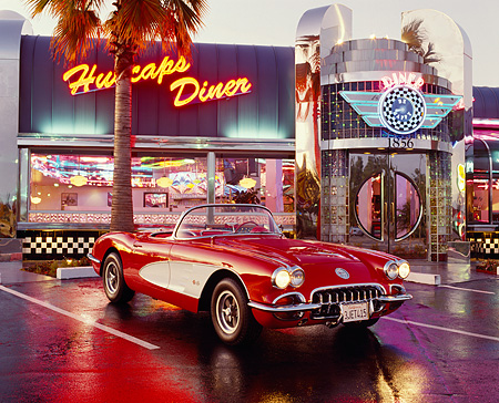 VET 02 RK0009 06 © Kimball Stock 1958 Chevy Corvette Fuel Injected Red And White 3/4 Front In Prking Lot In Front Of Diner