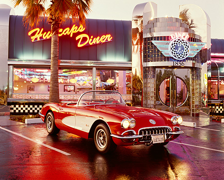 VET 02 RK0010 01 © Kimball Stock 1958 Chevrolet Corvette Fuel Injection Red And White 3/4 Front In Front Of Diner