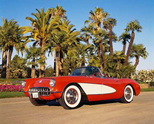 VET 02 RK0041 03 © Kimball Stock 1956 Chevy Corvette Convertible Red And White Low 3/4 Side On Pavement