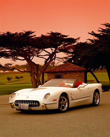 VET 02 RK0238 10 © Kimball Stock 1953 Chevrolet Corvette C5 Convertible White Commemorative Edition Front 3/4 View By Trees