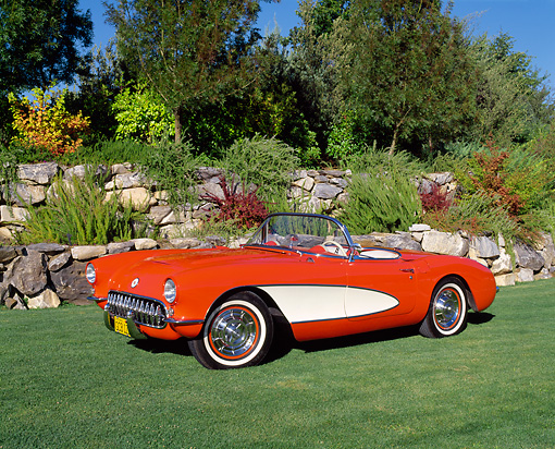 VET 02 RK0246 02 © Kimball Stock 1956 Chevrolet Corvette Roadster Red And White 3/4 Side View On Grass By Bushes And Trees
