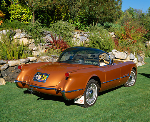 VET 02 RK0260 02 © Kimball Stock 1955 Chevrolet Corvette Bubble Top Copper 3/4 Rear View On Grass By Bushes And Trees
