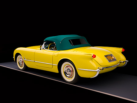 VET 02 RK0294 01 © Kimball Stock 1955 Chevrolet Corvette Harvest Gold 3/4 Rear View Studio