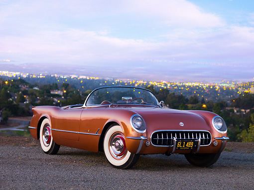 VET 02 RK0314 01 © Kimball Stock 1955 Chevrolet Corvette Convertible Copper 3/4 Front View On Pavement City