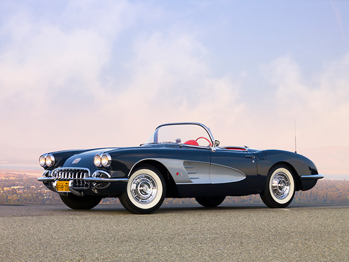 VET 02 RK0322 01 © Kimball Stock 1958 Chevrolet Corvette Convertible Charcoal 3/4 Front View On Pavement