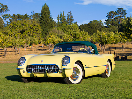 VET 02 RK0330 01 © Kimball Stock 1955 Chevrolet Corvette Convertible Yellow 3/4 Front View On Grass By Trees