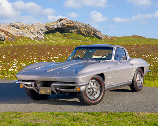 VET 03 BK0001 01 © Kimball Stock 1964 Chevrolet Corvette Gray 3/4 Front View On Pavement By Field Of Wildflowers