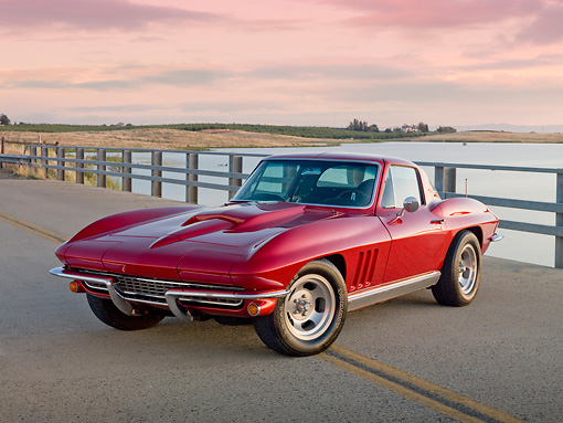VET 03 RK0687 01 © Kimball Stock 1966 Chevrolet Corvette Red 3/4 Front View On Road By Dry Grass And Pond